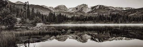 Wall Art - Photograph - Rmnp Sprague Lake Mountain Landscape Panorama - Estes Park Colorado In Sepia by Gregory Ballos