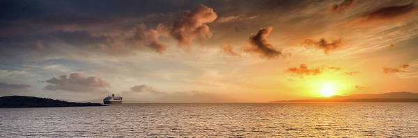 Photograph - Rms Queen Mary Sunset by Grant Glendinning