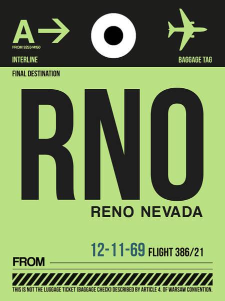 Reno Wall Art - Digital Art - Rno Reno Luggage Tag I by Naxart Studio