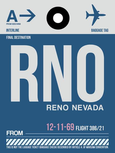 Reno Wall Art - Digital Art - Rno Reno Luggage Tag II by Naxart Studio