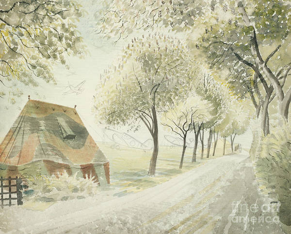 Wall Art - Painting - Road By An Airfield by Eric Ravilious