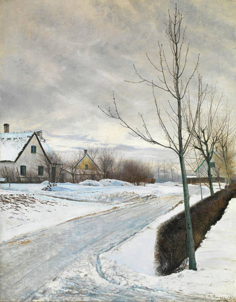 Wall Art - Painting - Road In The Village Of Baldersbronde - Winter Day by Laurits Ring