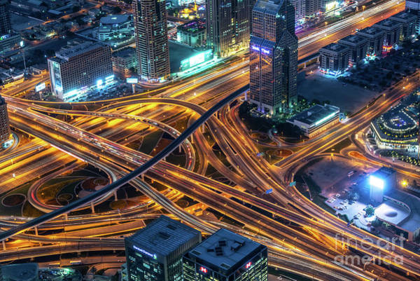 Wall Art - Photograph - Road Interchange In Dubai At Night by Delphimages Photo Creations