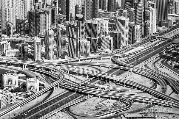 Wall Art - Photograph - Road Interchange In Dubai by Delphimages Photo Creations