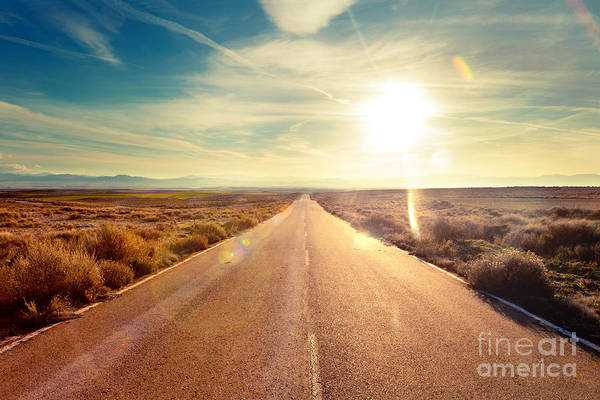 Route Photograph - Road Through Landscape. Road And Car by Carlos Castilla