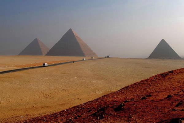 Giza Photograph - Road To Great Pyramids by Bijan Choudhury