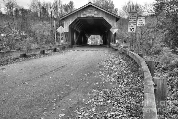 Photograph - Road To The Cambridge Junction Covered Bridge Black And White by Adam Jewell