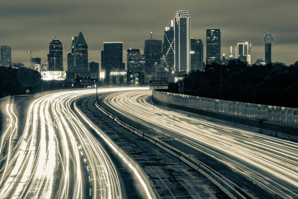 Photograph - Road To The Dallas Texas Skyline - Sepia Edition by Gregory Ballos