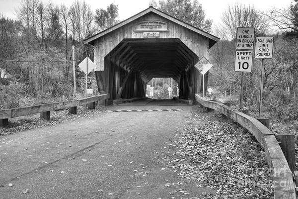 Photograph - Road To The Poland Covered Bridge Black And White by Adam Jewell