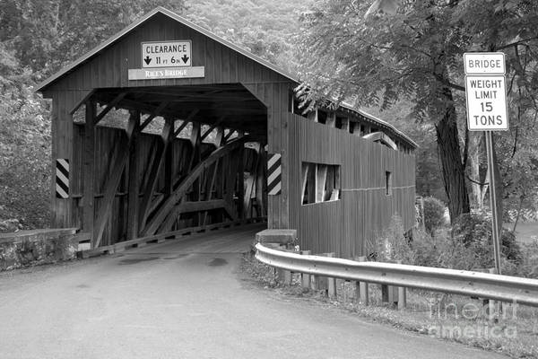 Photograph - Road To The Rice's Covered Bridge Black And White by Adam Jewell