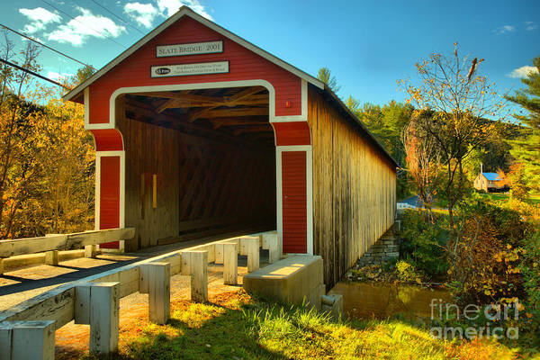 Photograph - Road To The Slate Covered Bridge by Adam Jewell