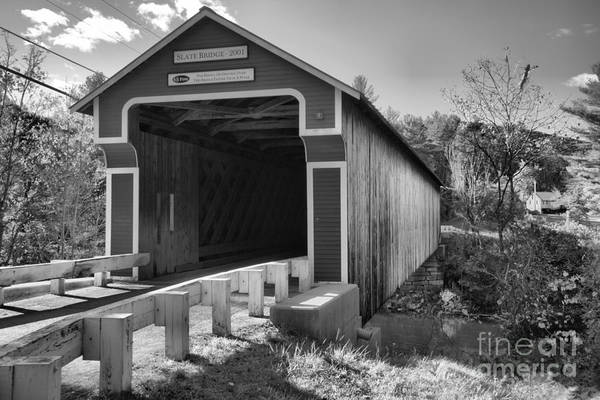 Photograph - Road To The Slate Covered Bridge Black And White by Adam Jewell