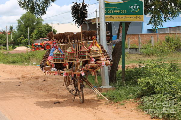 Wall Art - Photograph - Roadside Vendor Cambodia Bicycle  by Chuck Kuhn