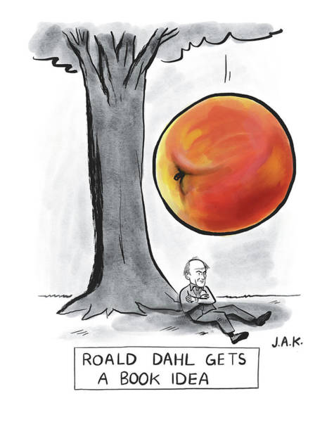 Authors Drawing - Roald Dahl Gets A Book Idea by Jason Adam Katzenstein