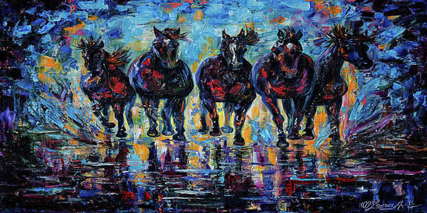 Painting - Roaming Free Horses by OLena Art - Lena Owens