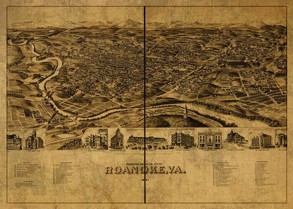 Roanoke Wall Art - Mixed Media - Roanoke Virginia Vintage City Street Map 1891 by Design Turnpike