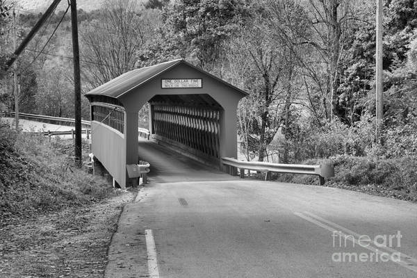 Photograph - Roaring Branch Brook Covered Bridge Black And White by Adam Jewell
