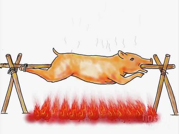Bbq Digital Art - Roast Pig Lechon  Roasting Color Drawing  by Aloysius Patrimonio