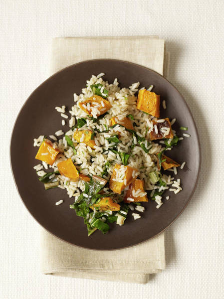 Napkin Photograph - Roasted Butternut Squash Rice by James Baigrie