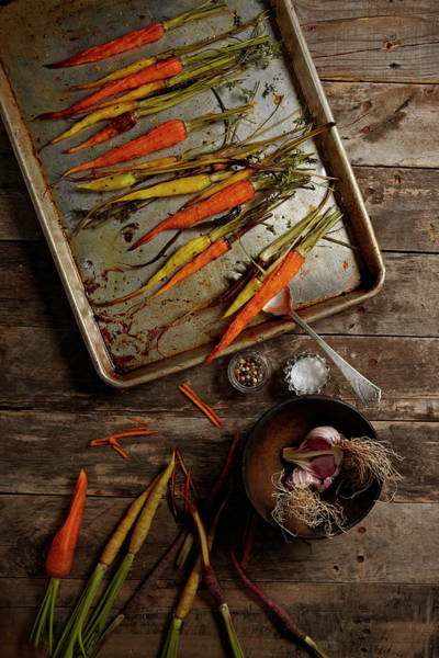 Tray Photograph - Roasted Carrots And Garlic by Lew Robertson