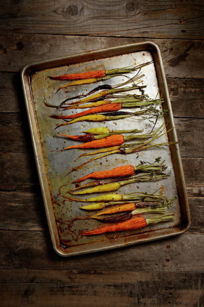 Wood Photograph - Roasted Carrots by Lew Robertson