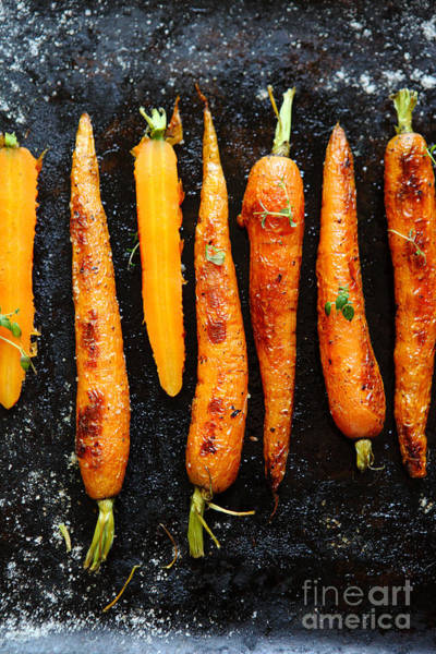 Wall Art - Photograph - Roasted Carrots With Spices On A Baking by Olha Afanasieva
