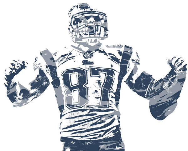 Wall Art - Mixed Media - Rob Gronkowski New England Patriots Pixel Art 40 by Joe Hamilton