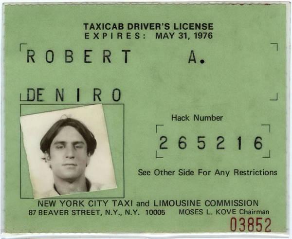 Wall Art - Photograph - Robert De Niro's New York City Taxi Driver License 1976 by Daniel Hagerman