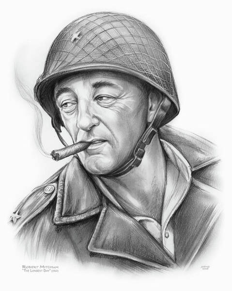 Wall Art - Drawing - Robert Mitchum 2 by Greg Joens