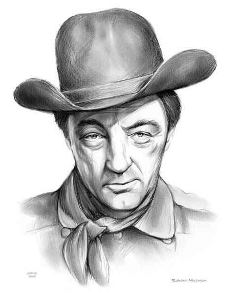 Professional Drawing - Robert Mitchum Cowboy by Greg Joens