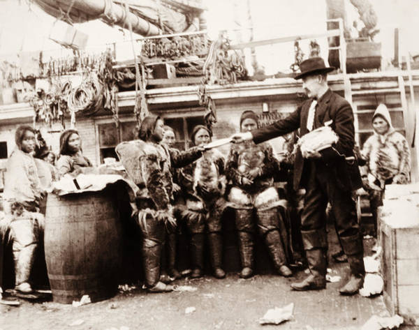 Wall Art - Photograph - Robert Peary Handing Gifts To Eskimos by War Is Hell Store