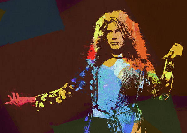 Rock And Roll Jimmy Page Wall Art - Painting - Robert Plant Tribute by Dan Sproul