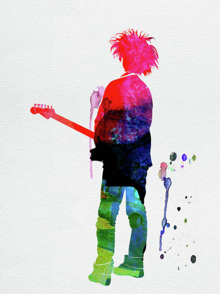Rock And Roll Mixed Media - Robert Smith Watercolor by Naxart Studio