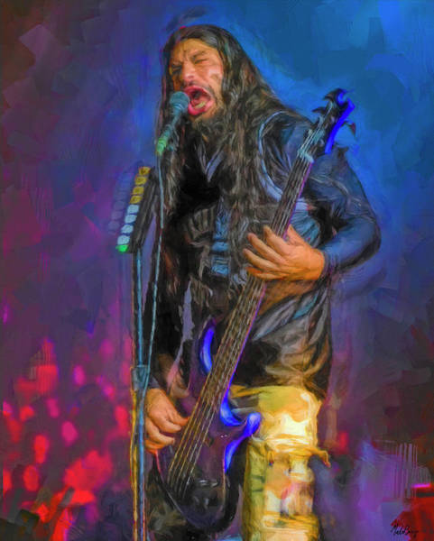 Jeff Hanneman Wall Art - Mixed Media - Robert Trujillo by Mal Bray