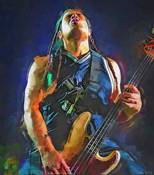Thrash Metal Wall Art - Mixed Media - Robert Trujillo Metallica by Mal Bray