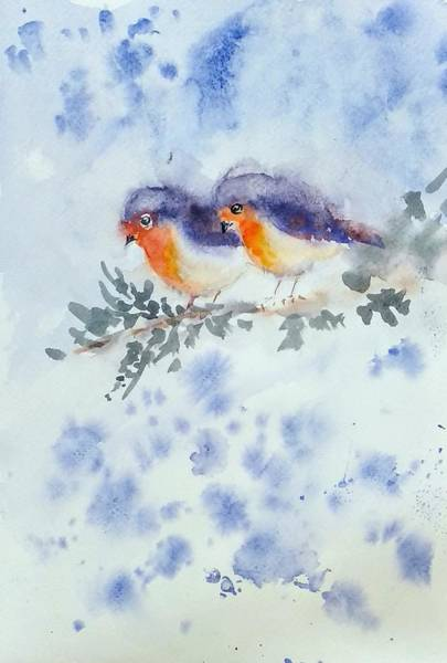Wall Art - Painting - Robin Couple by Asha Sudhaker Shenoy