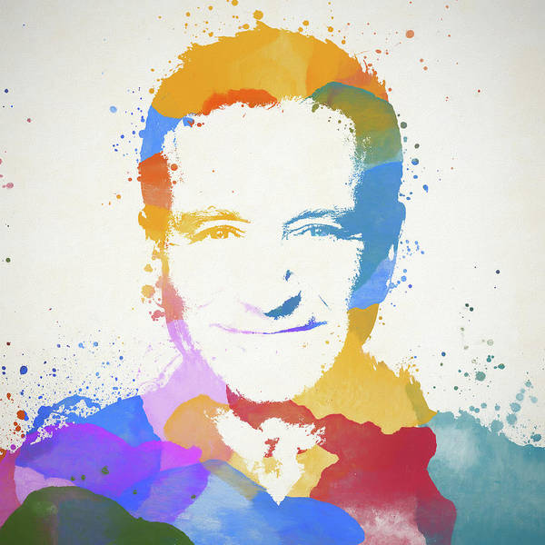 Wall Art - Painting - Robin Williams Paint Splatter by Dan Sproul