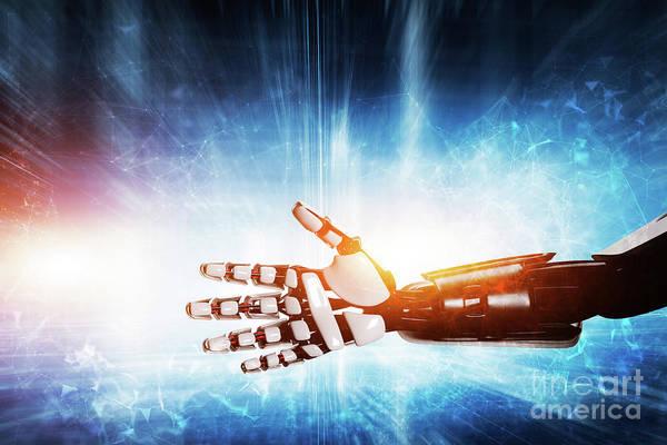 Photograph - Robot Hand On Modern Background. by Michal Bednarek