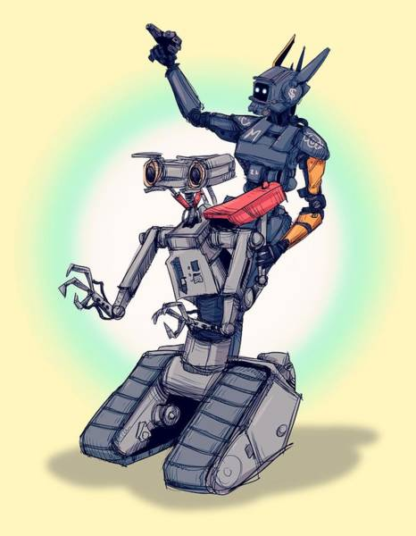 Wall Art - Drawing - Robot Pals by Ludwig Van Bacon