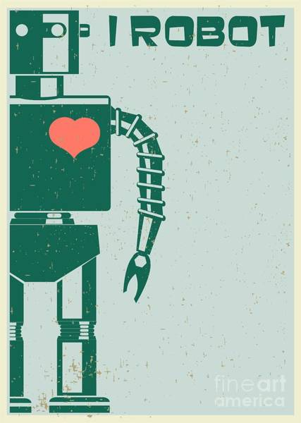 Red Heart Digital Art - Robot With Heart On Chest, Retro Poster by Pgmart