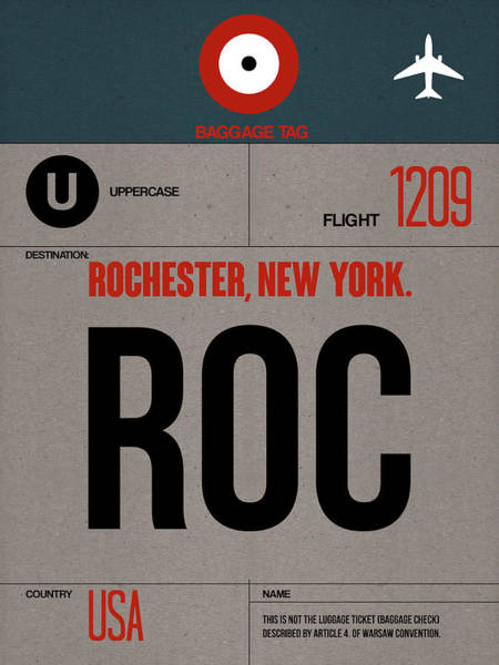 Wall Art - Digital Art - Roc Rochester Luggage Tag I by Naxart Studio