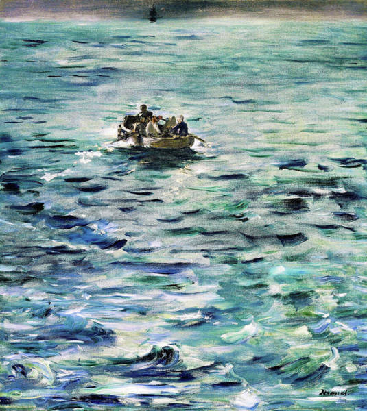 Wall Art - Painting - Rochefort's Escape - Original Bluecolor Edition by Edouard Manet