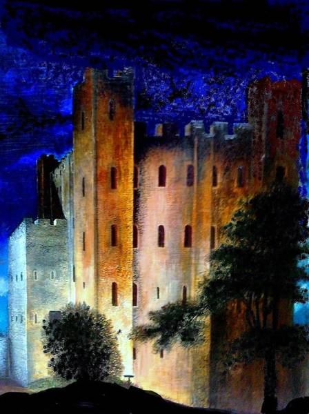 Baroque Mixed Media - Rochester Castle At Night by John Baroque