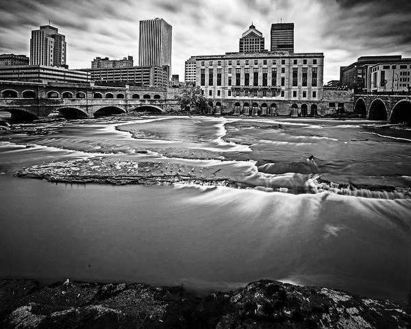 Photograph - Rochester Ny Court Street Bridge Flowing Water Black And White by Toby McGuire