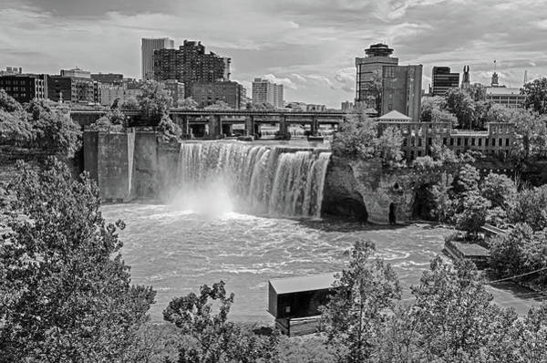Photograph - Rochester Ny High Falls Waterfall Black And White by Toby McGuire