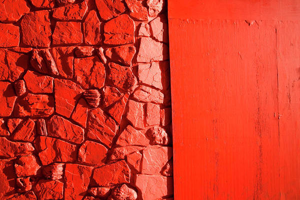 Ugliness Photograph - Rock And Plywood Wall Painted Red by Pete Starman