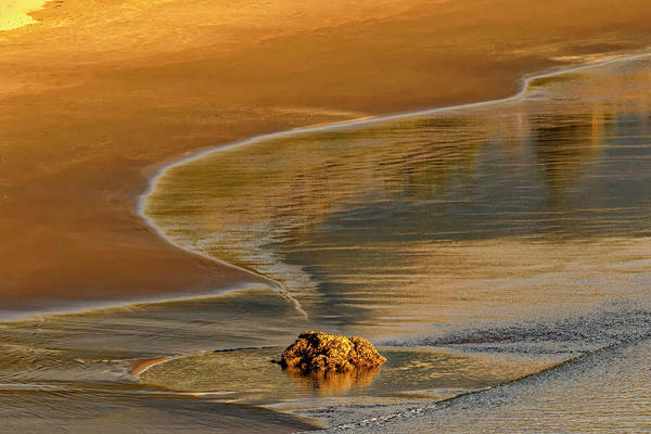 Wall Art - Photograph - Rock And Waves On Beach At Sunset by Adam Jones