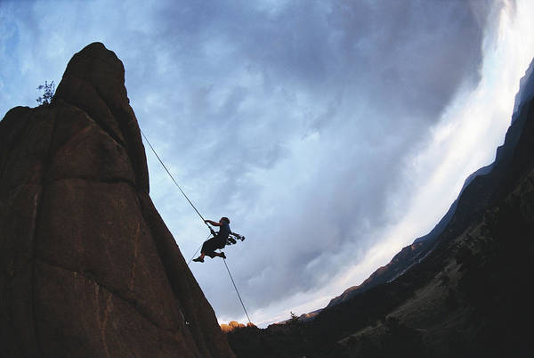 Hanging Photograph - Rock Climber Hanging From Rope Wide by Chase Jarvis