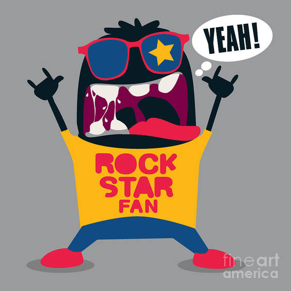 Wall Art - Digital Art - Rock Fan Monster by Braingraph