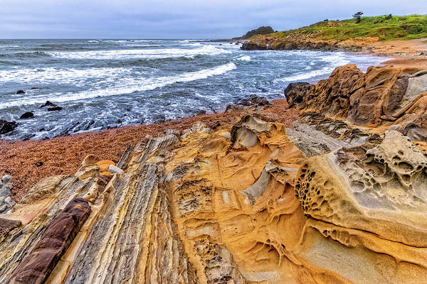 Photograph - Rock Formations At Pebble Beach by Carolyn Derstine